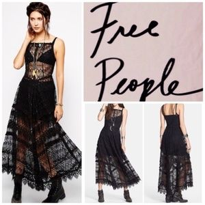 Free People Mitered Meadows Lace Maxi Slip Dress